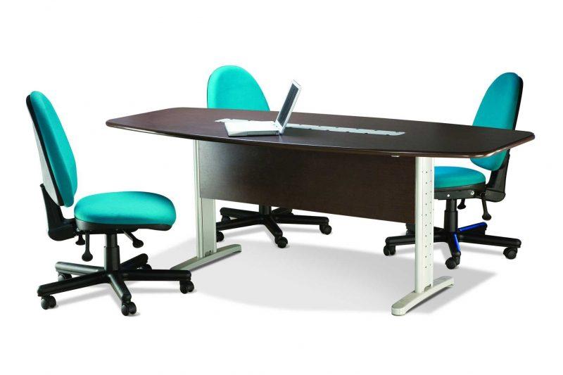 Mesa Reunião Semi Oval com calhas