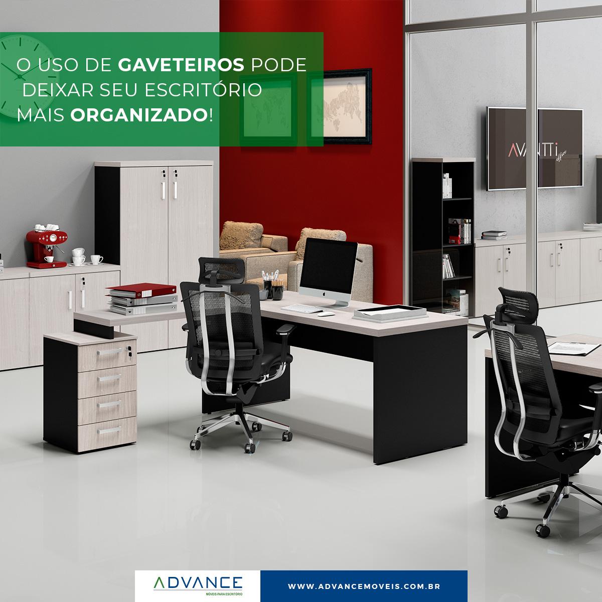 O uso de gaveteiros pode deixar seu escritório mais organizado.